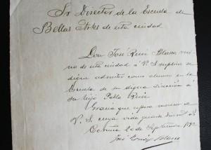 La carta de solicitud del padre de Picasso al director de la Escuela