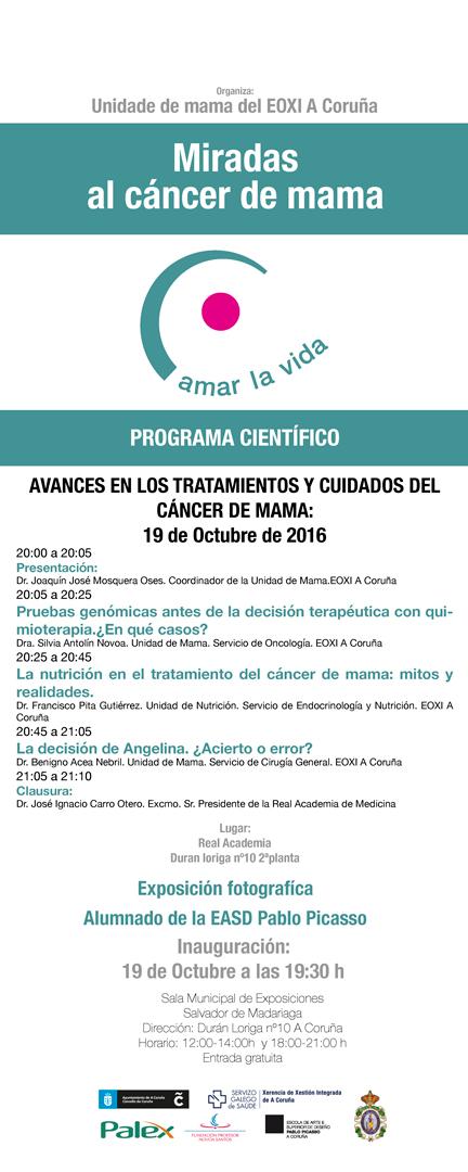 Conferencias: Pruebas genómicas antes de la decisión terapéutica con quimioterapia; La nutrición en el tratamiento del cáncer de mama:mitos y realidades. La decisión de Angelina. ¿Acierto o error?
