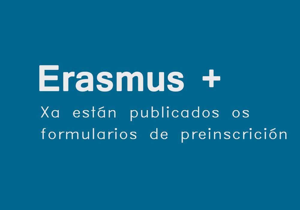 Publicados nesta web os formularios de preinscrición de Erasmus estudos e prácticas
