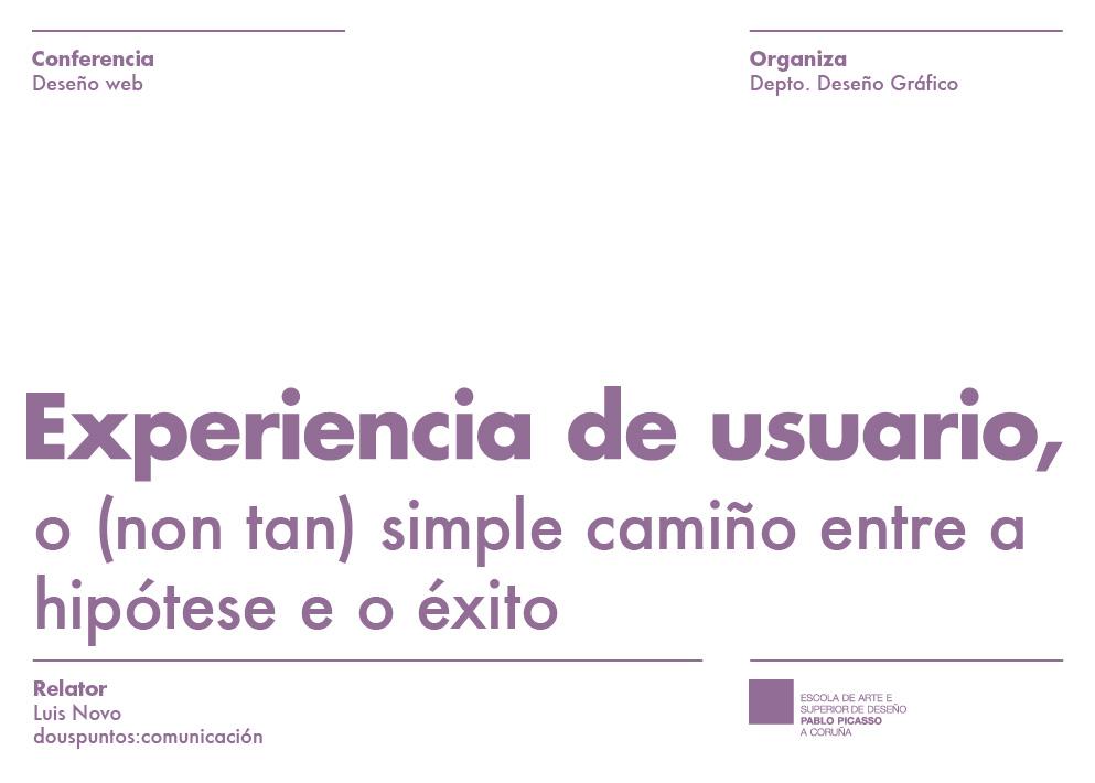 Cartel Conferencia Experiencia de usuario
