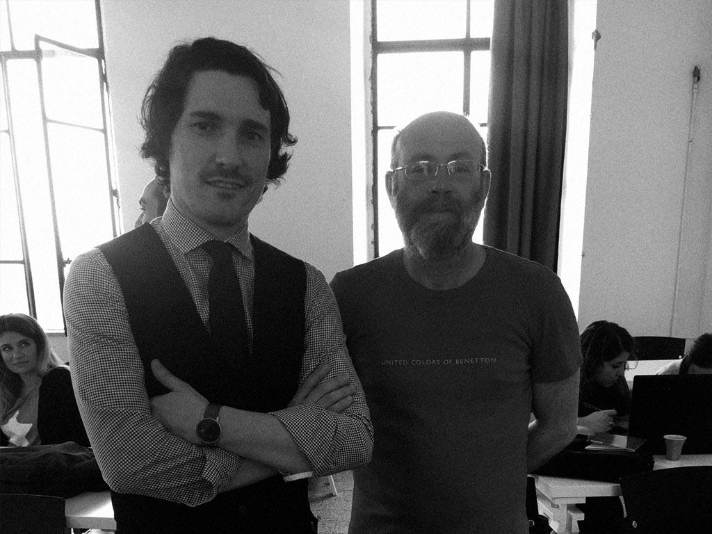 El profesor Diego Carracedo acompañado de un colega en Frosinone